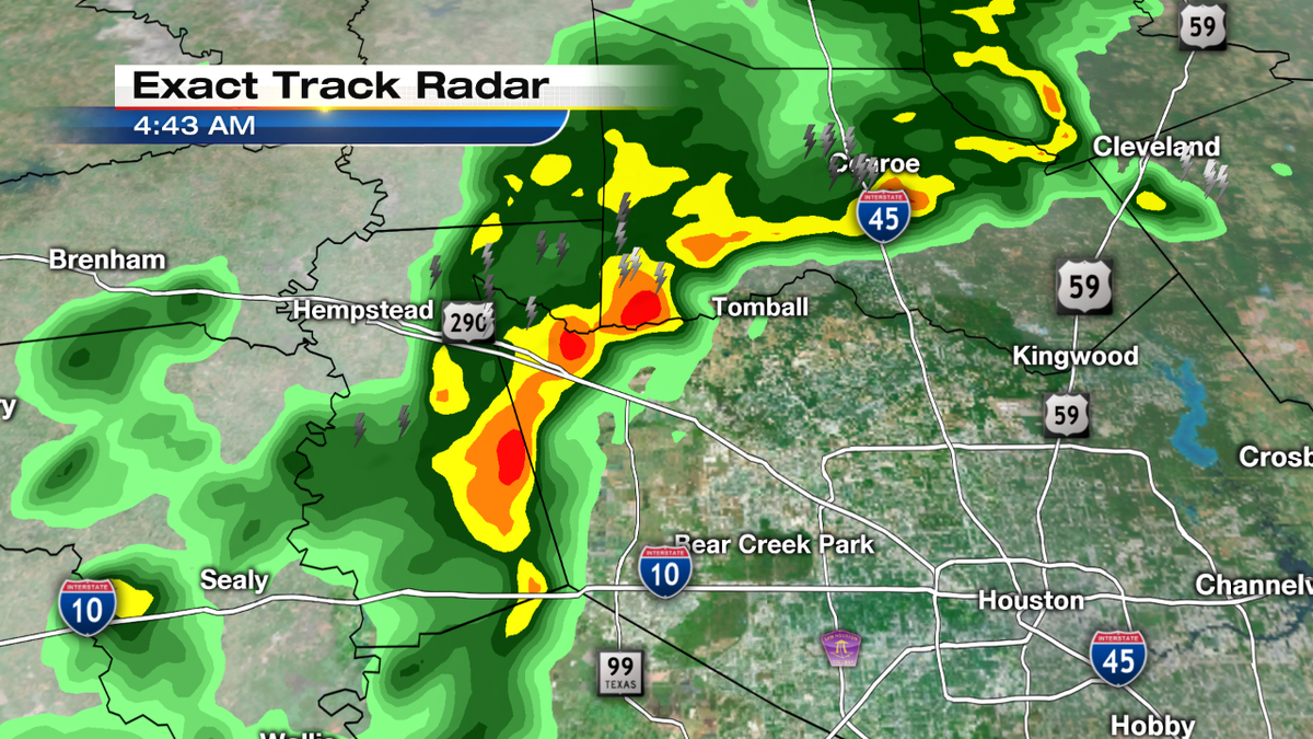 Small hail detected in Iso T-storms moving through Coll Station. Line now along Conroe to Tomball line moving SE.