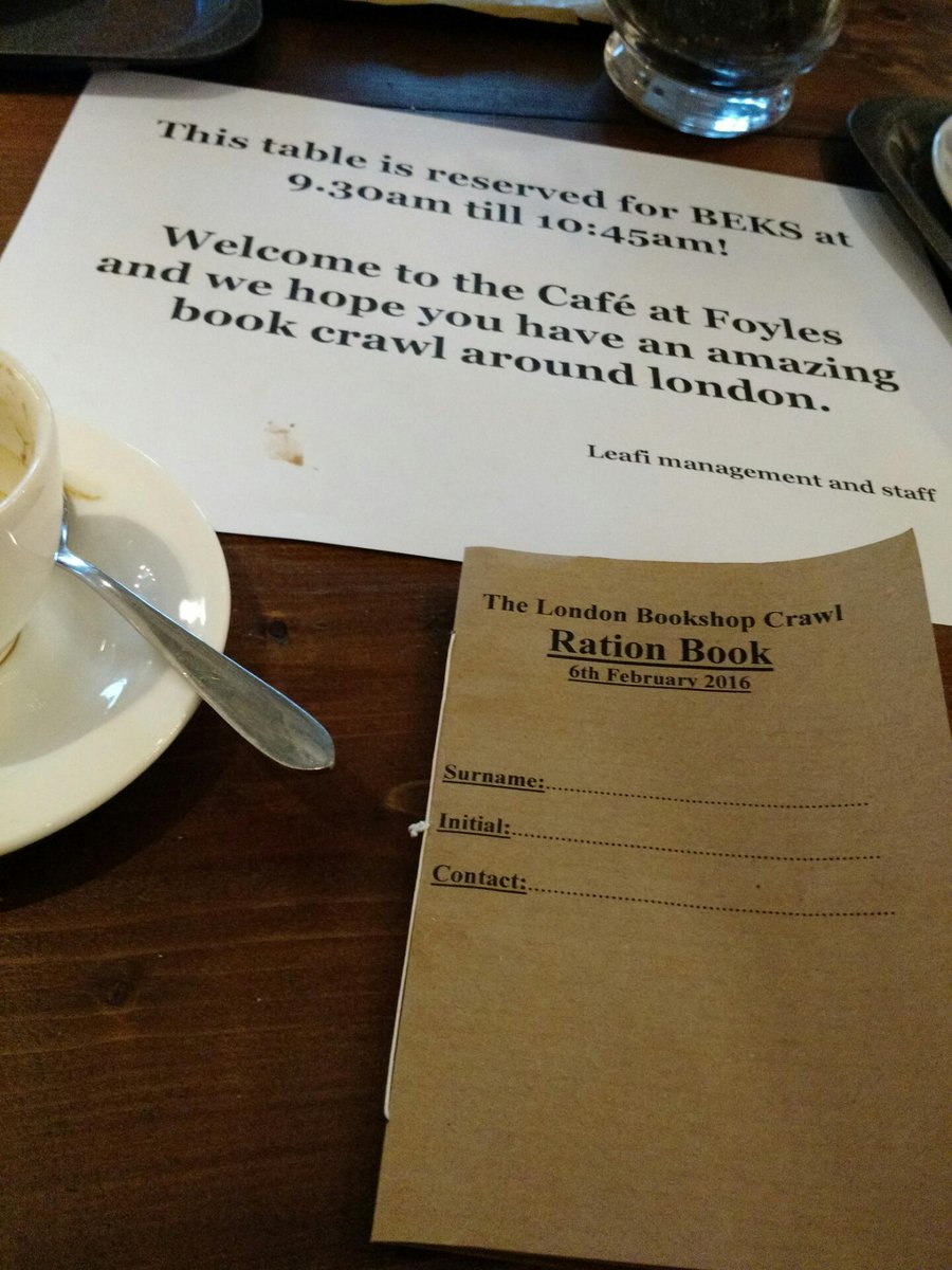 Special table reservations & first book of the day: beautiful #londonbookshopcrawl Ration Book https://t.co/SLrwKFArd6