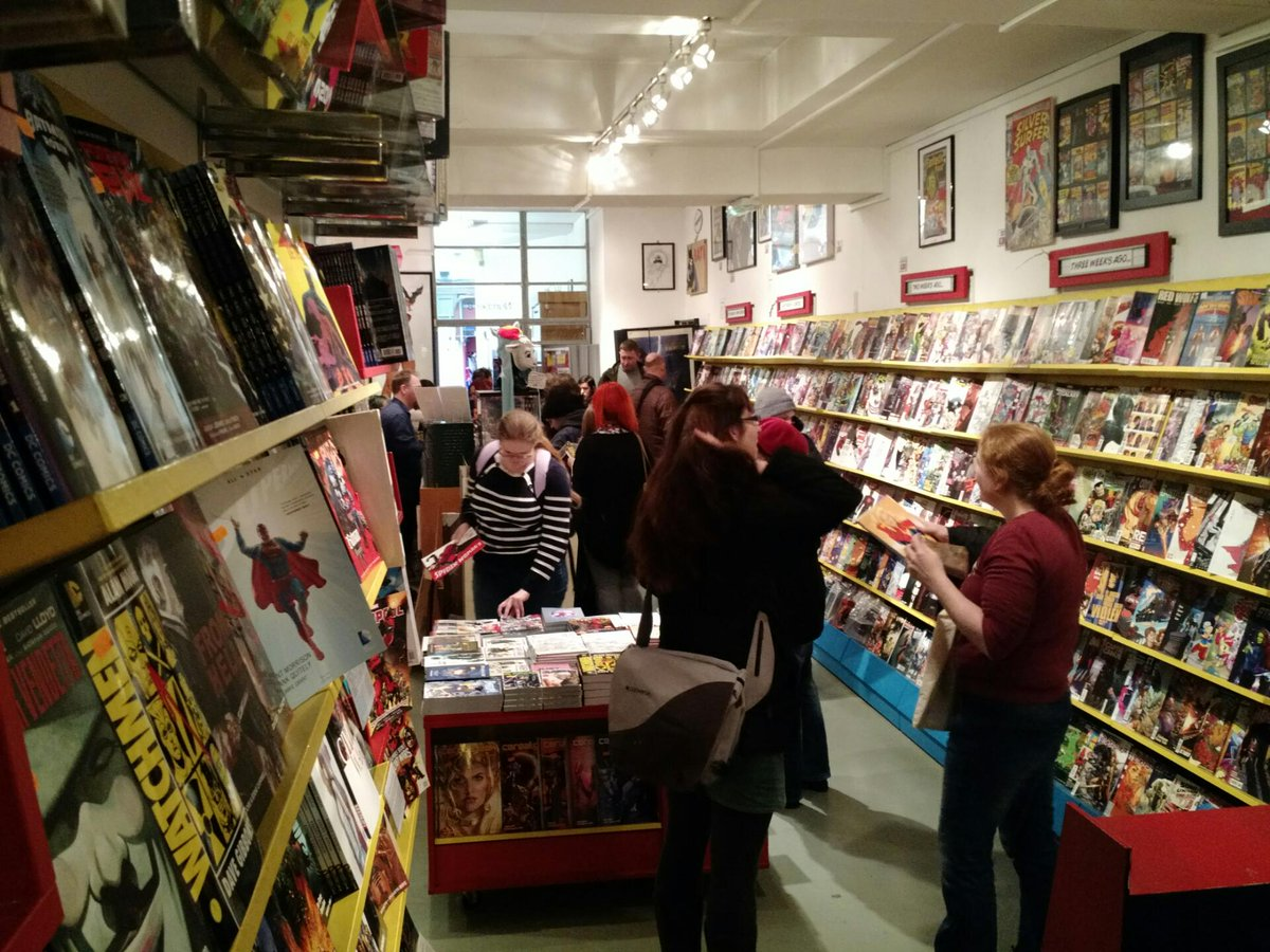 #londonbookshopcrawl causing massive queue at @orbitalcomics https://t.co/CmOoEsszcl