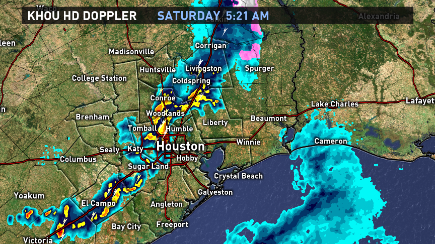 A squall line of showers associated with a front is moving through Houston this morning. More coming up at 7.KHOU11
