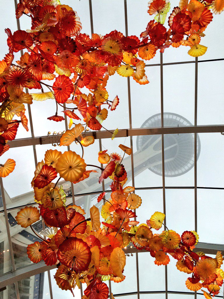 View from shavasana. #yoga #chihuly #visitseattle @seattlecenter @space_needle https://t.co/RpFKrPHS8V