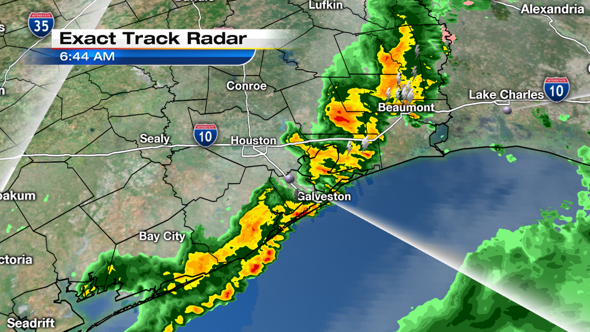 Line of storms almost off the coast. Look for a breezy afternoon and sunny skies the next week!