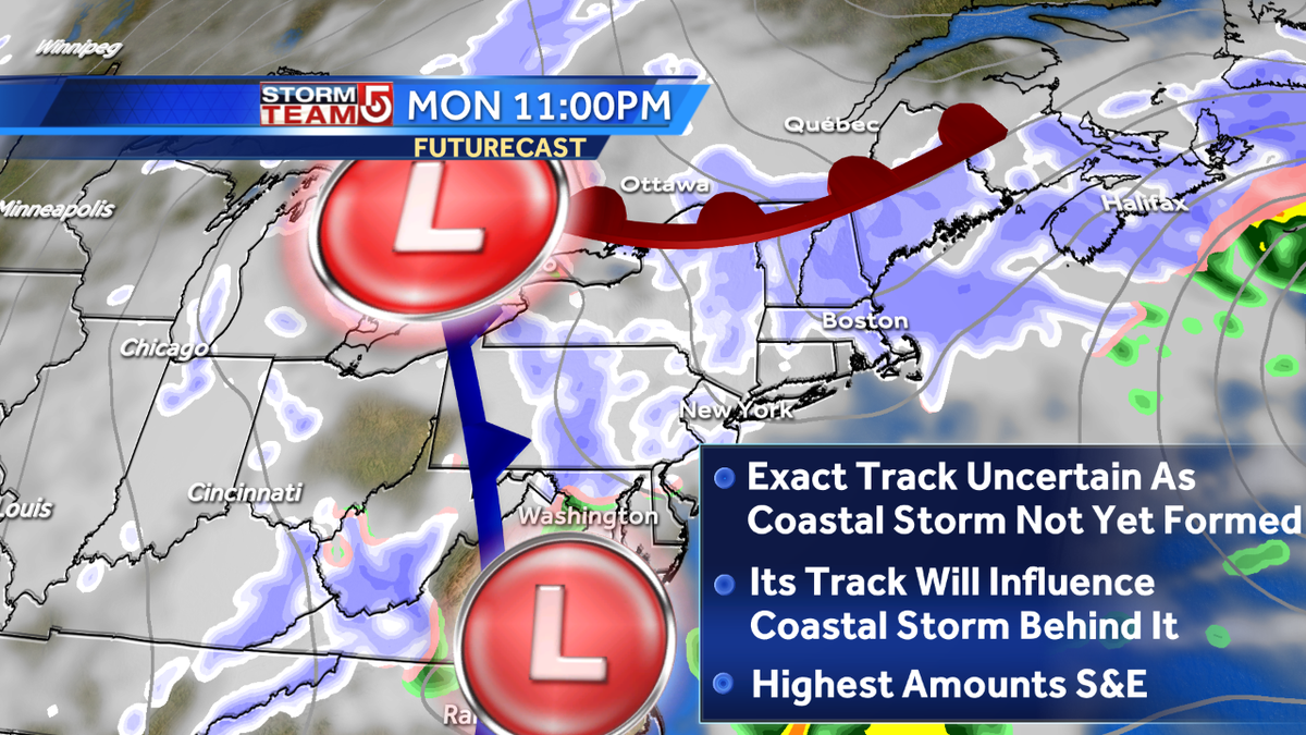 2 chances for snow! The track of Mon storm (uncertain) will influence the Tues storm. Highest totals S&E WCVB