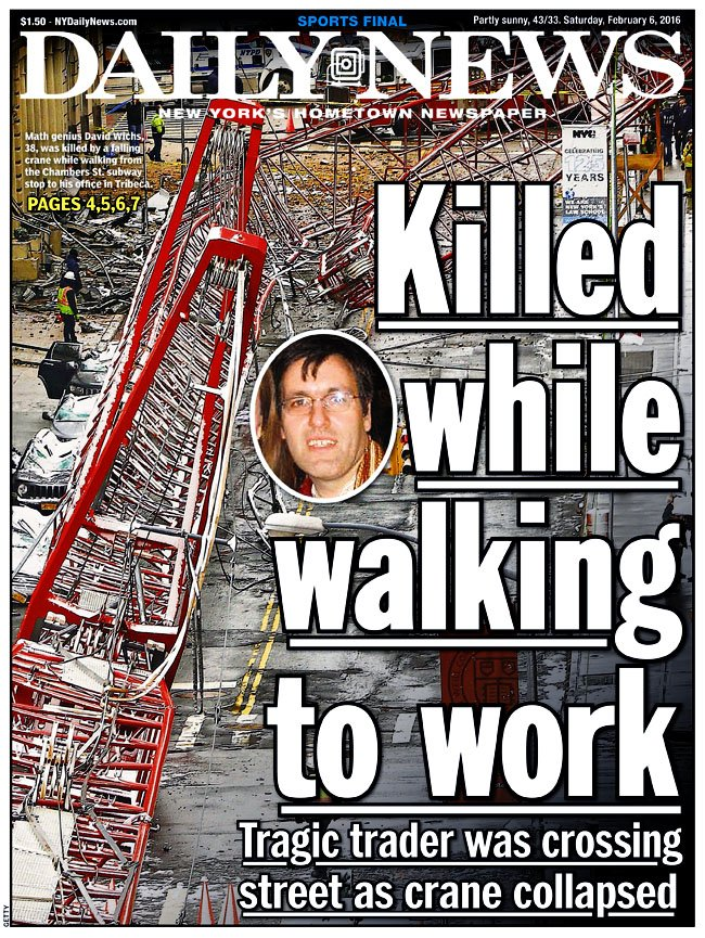Today's front page...Killed while walking to work READ MORE