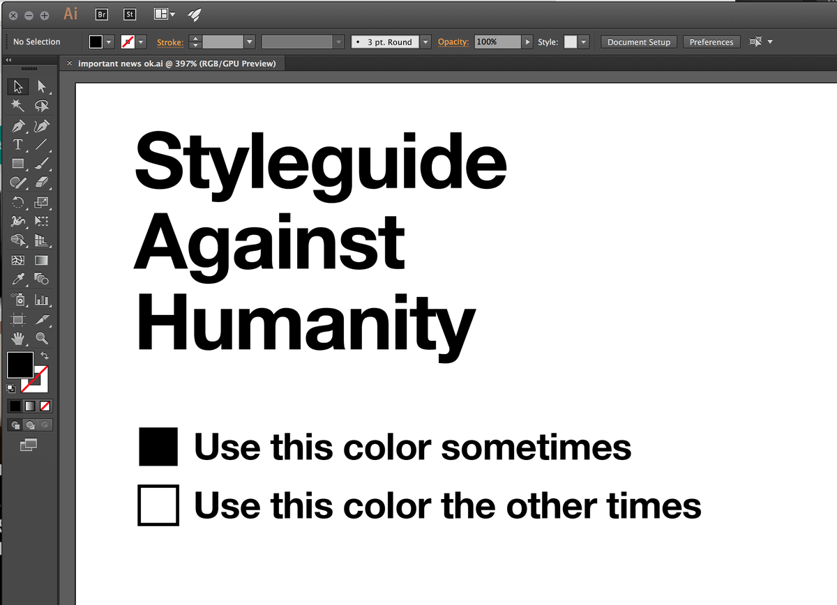 I'm at the @CAH office this morning and I got a peak at their styleguide.  #SNDMakes   #jklol https://t.co/MgCYBHUSWF