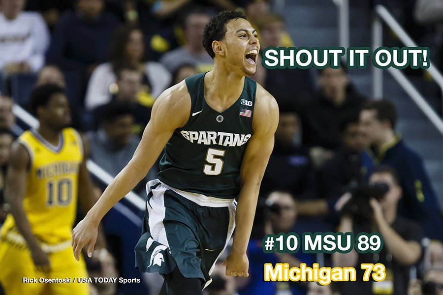 No. 10 Michigan State hits 14 threes in 89-73 triumph at Michigan.