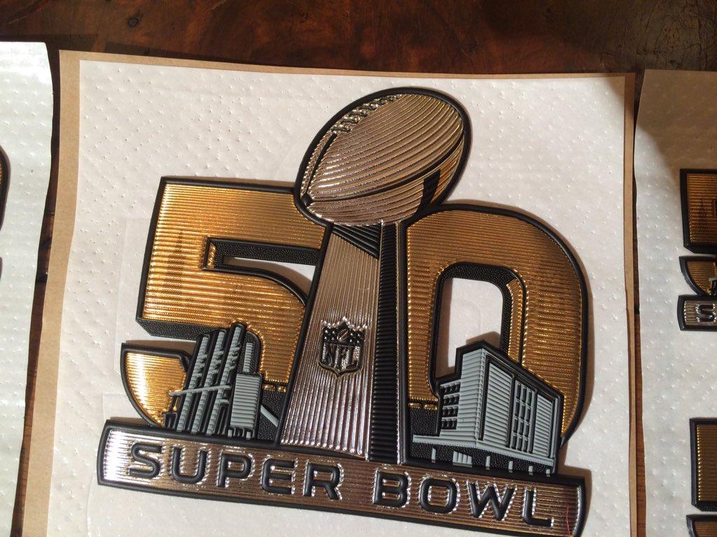 Here is the official NFL Super Bowl 50 patch designed & made @ Fiberlok in Fort Collins, CO. GoBroncos SuperBowl