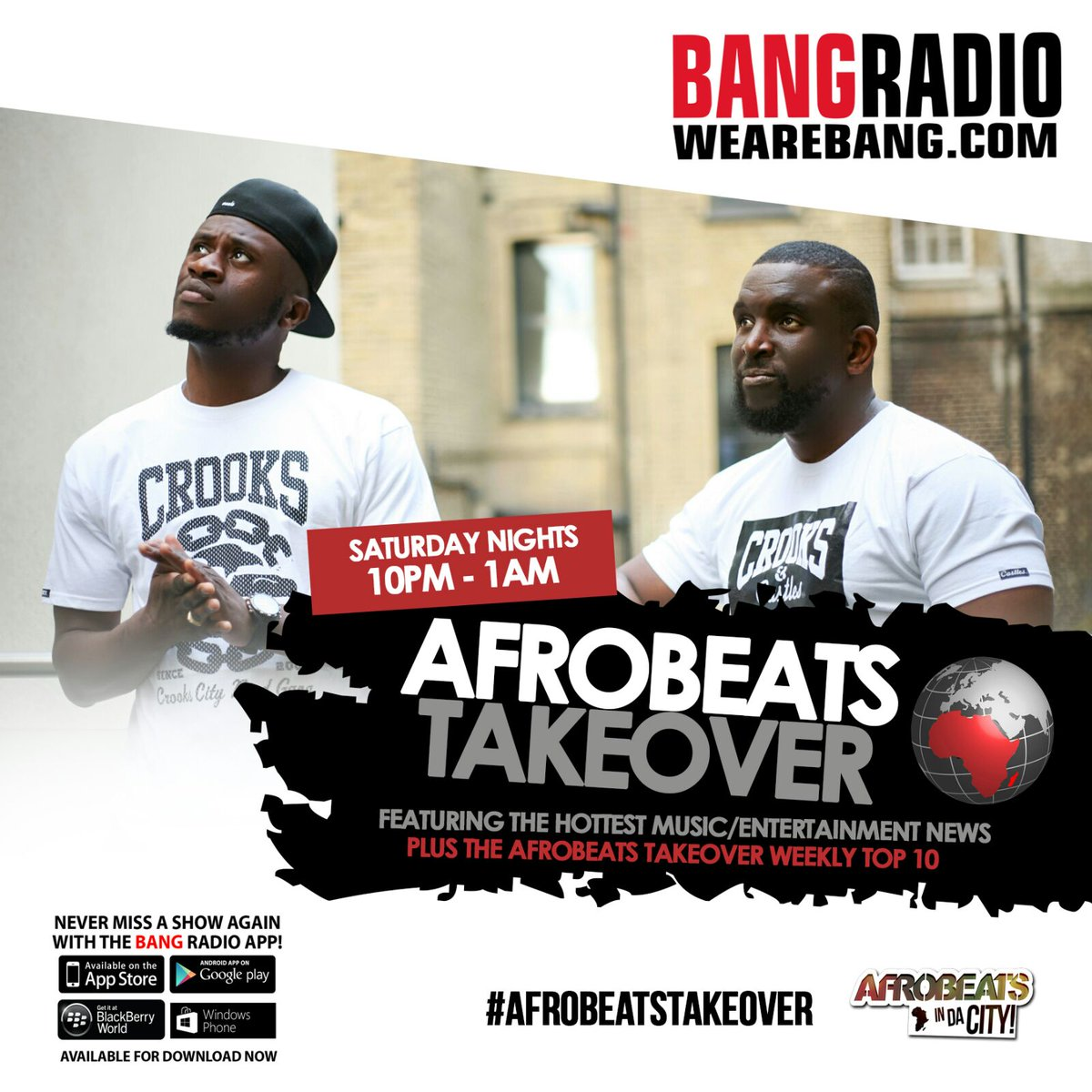 Looking forward to new show tonight on @WeAreBANGRADIO w/ @dboyCityLove and Selector Maestro #AfrobeatsTakeover https://t.co/S4eonauWnZ