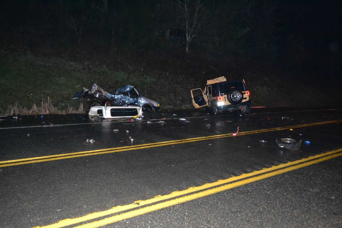 Chehalis - SR6/MP49 - The scene from last night's fatal collision. Roadway was closed for nearly 4 hours.