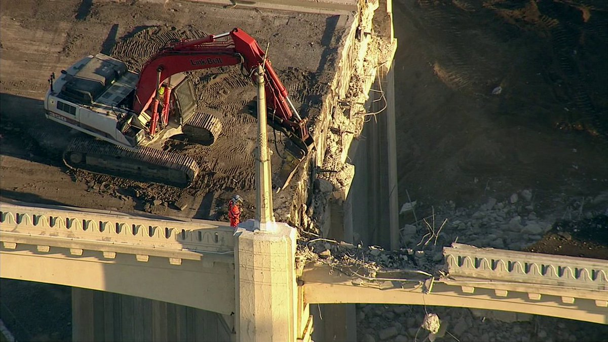 Iconic 6th Street Bridge is coming down on day one of demolition