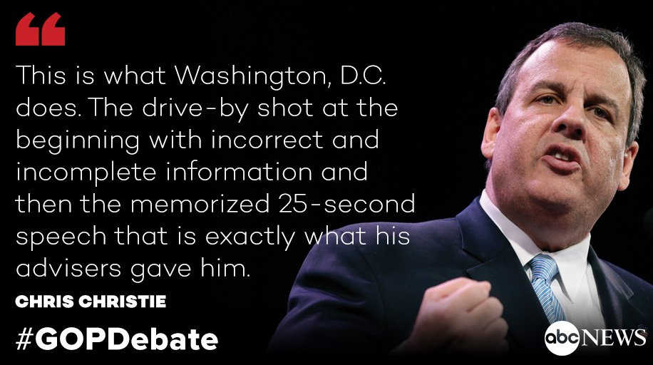 How about @ChrisChristie's remarks? GOPDebate