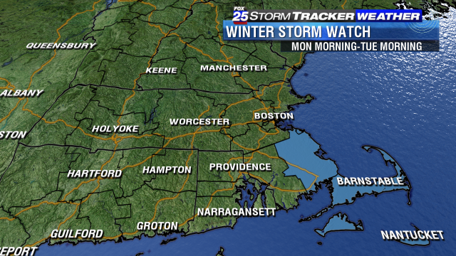 Winter Storm Watch issued for Monday