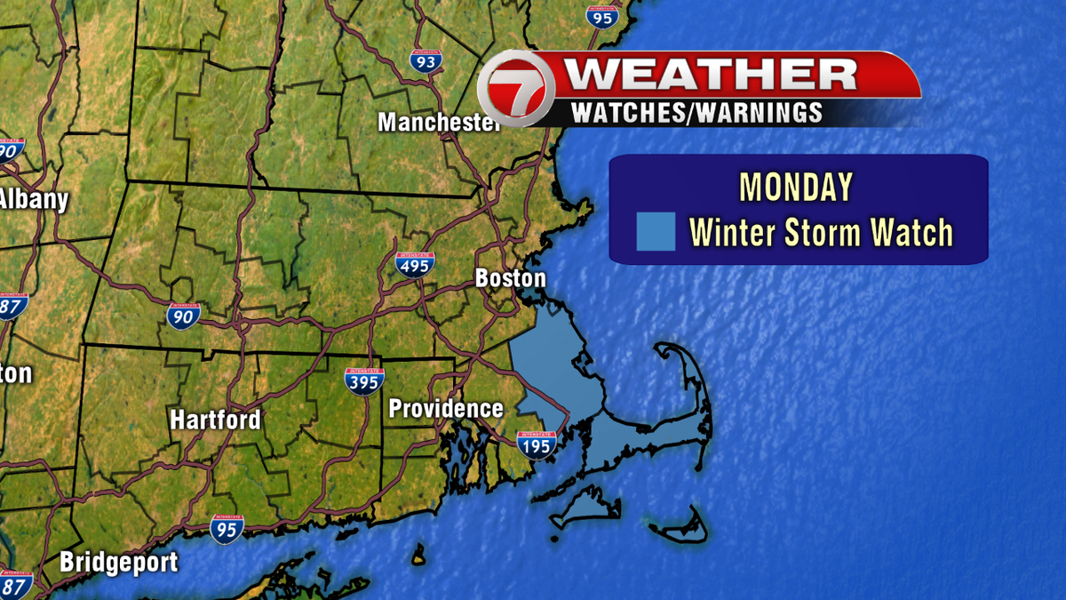 Winter Storm Watch issued for Monday. Plymouth County, Cape Cod and the islands. Possibly 6