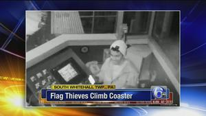 Police: Flag thieves climb coaster at @DorneyParkPR