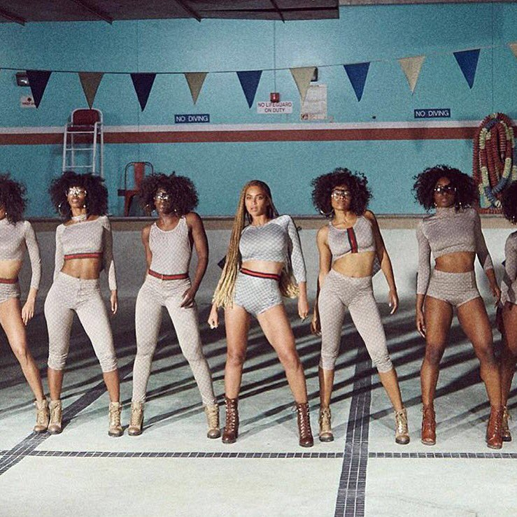 In a homage to #Gucci, #Beyonce and her #Formation chorus wear one-of-a-kind GG and Web bodysuits https://t.co/6EZrU8KUZi