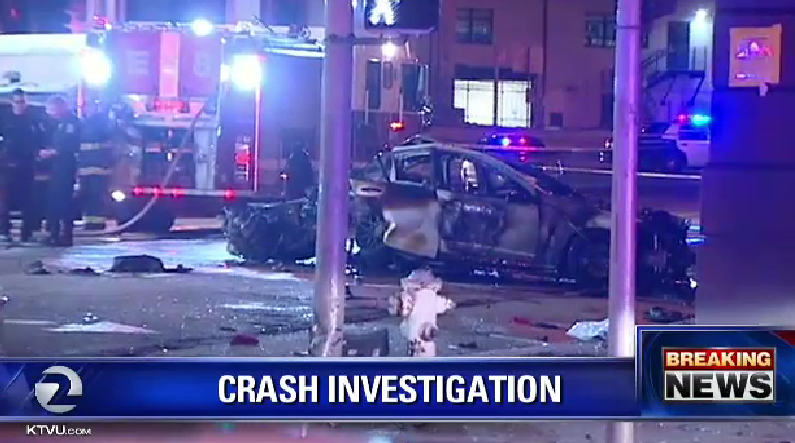 3 dead after car crashes into taxi. Victims were in car chased by police near 9th & Brannon.