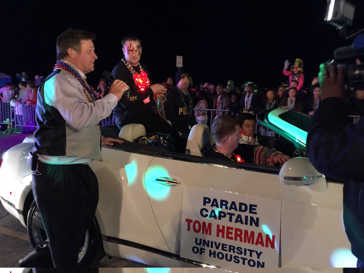 UH Coach and parade captain Tom Herman at the Knights of Momus Grand Night Parade GoCoogs HTownTakeover