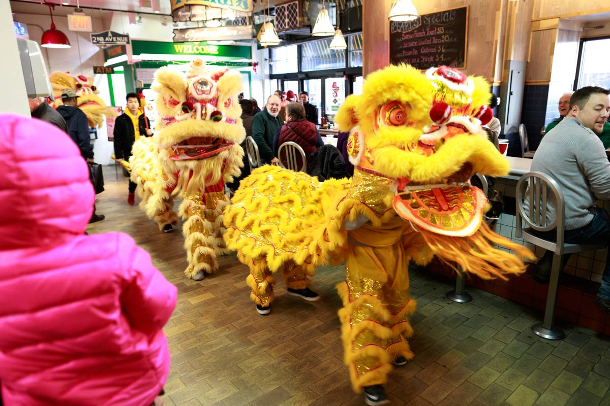 About 11 o'clock Saturday morning, three lions showed up at Reading Terminal Market -