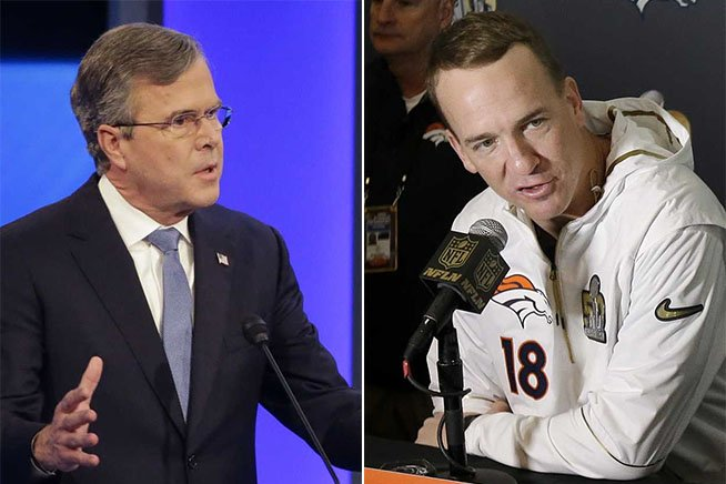 Jeb Bush, Peyton Manning back one another in Election2016 and SuperBowl50