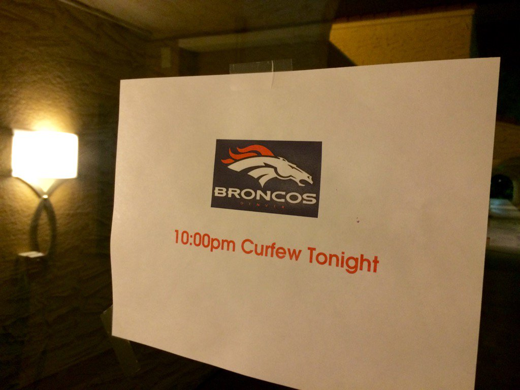 Big day tomorrow.Early curfew for @Broncos players.SB50 9news