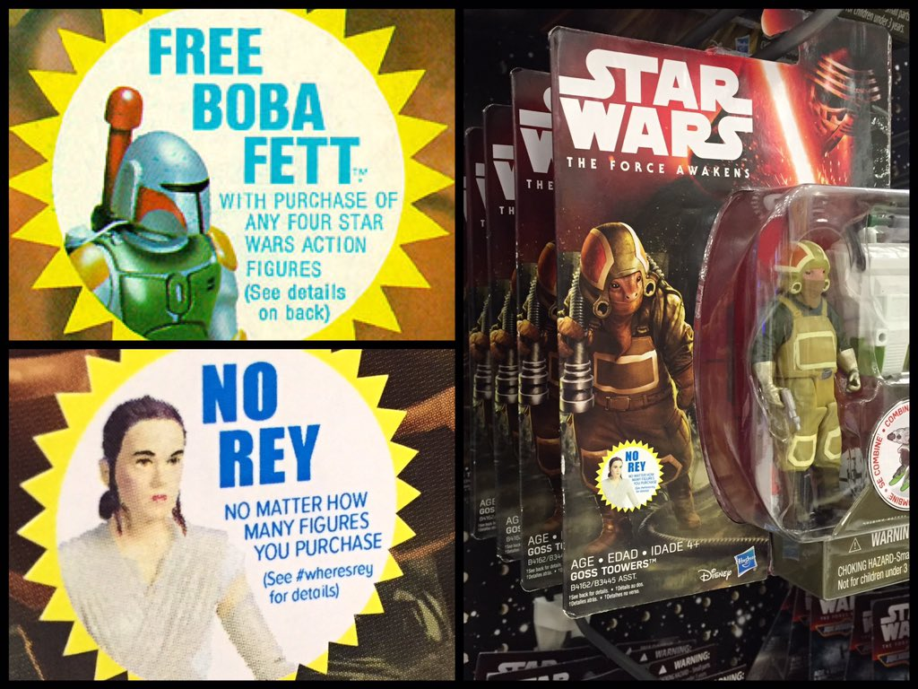 I made some stickers and stuck them on a bunch of #starwars figures at the store. #WheresRey https://t.co/jedW6Q78rC