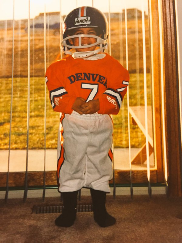 @missgriego2's brother Derick has always been a Broncos fan. Taken 22 years ago in Greeley!