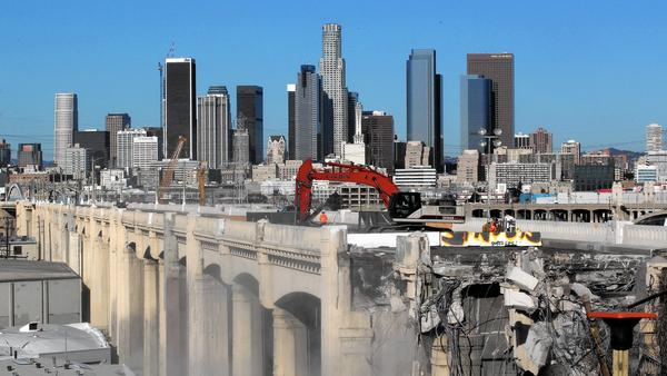 L.A.'s iconic 6th Street Bridge finally starts to fall to demolition crews