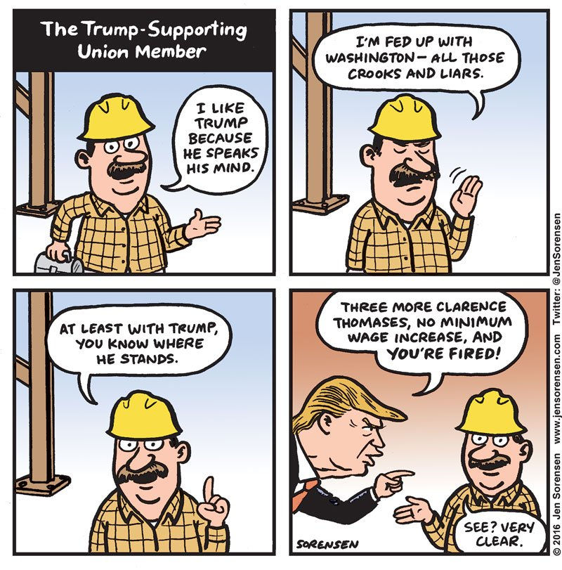 @JenSorensen on the logic of the Trump supporter. Read all of the comics