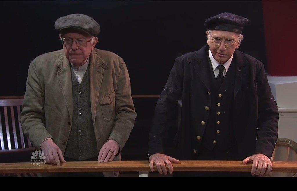 Bernie Sanders appears on 'Saturday Night Live' alongside Larry David