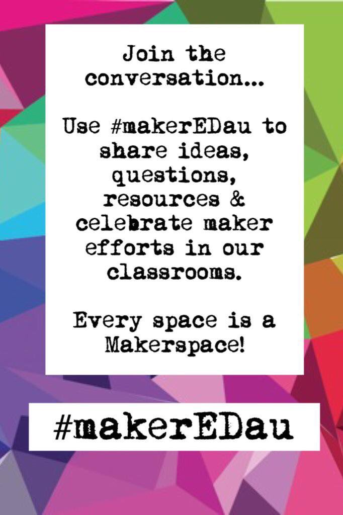 Join the conversation #makerEDau & let's share the awesome things we're making in our #aussieED learning spaces! https://t.co/KFeDpxEYlM
