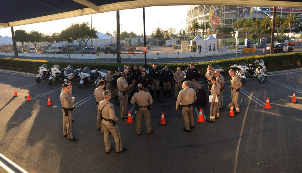 Our CHP motors getting briefed before going out on their assignments to keep the public safe during SB50!