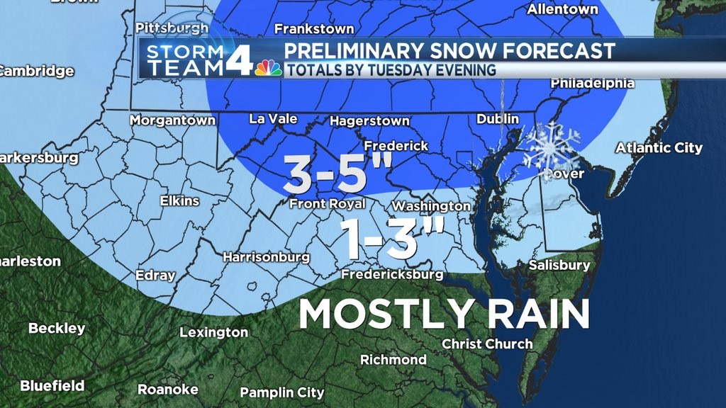 Biggest impact will be Tuesday- but this is 1st thoughts on Monday night into Tuesday #snow @nbcwashington @WTOP https://t.co/S3wKsScuFk