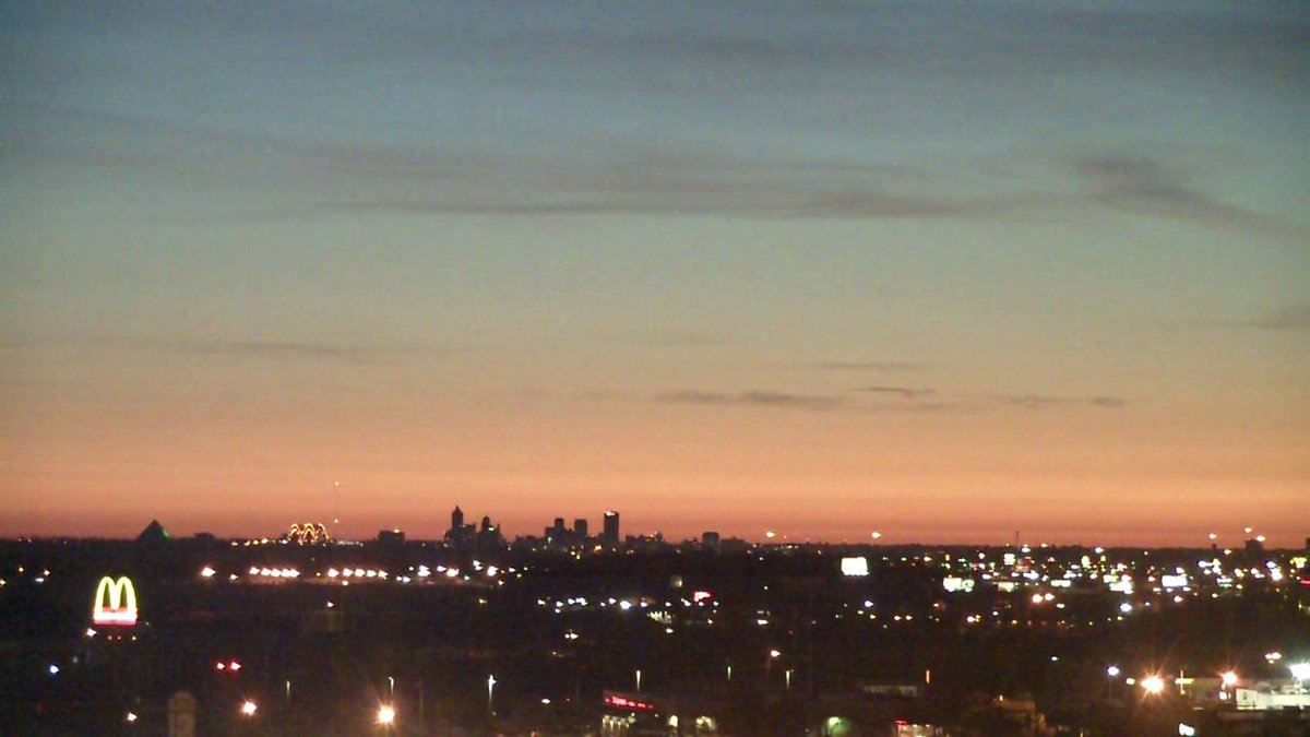 Approaching Sunday sunrise on the WREG @3onyourside WestMemphis cam looking towards downtown Memphis.