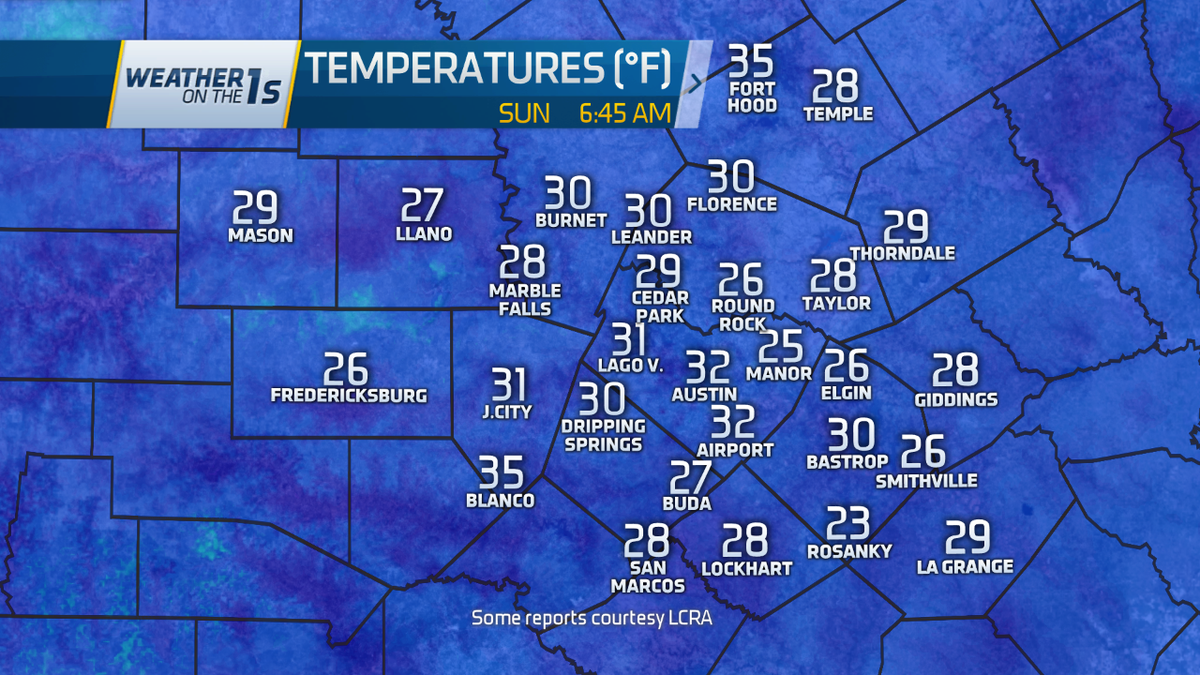Layers needed this AM with temps falling below freezing area wide. Brr! atxweather