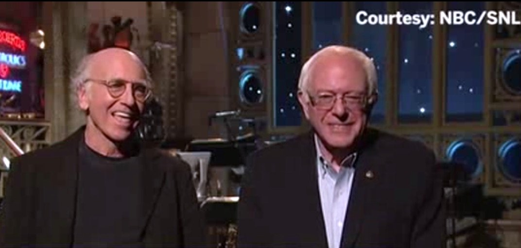 Now we can say we've seen Larry David and Bernie Sanders together in the same room.