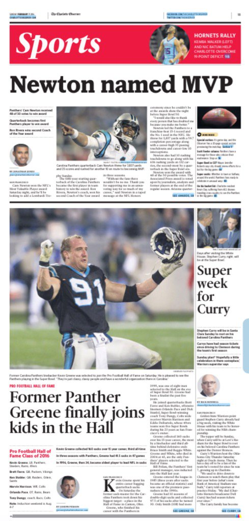 Sports front: Newton named MVP, Rivera coach of year, Kevin Greene to Pro Football Hall of Fame. @APSE_sportmedia