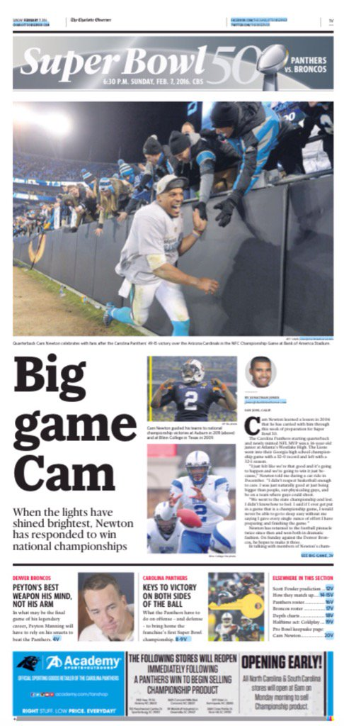 Panthers cover: Big game Cam in another one -- SB50. @jjones9 @APSE_sportmedia