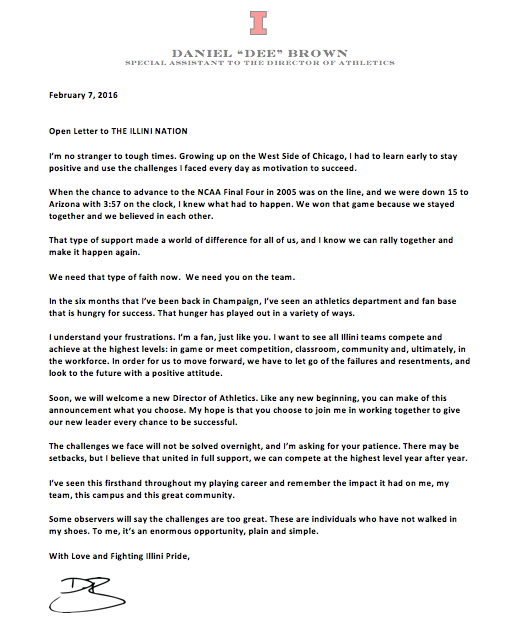 To my #IlliniNation here is my letter to you, Together We Can! ILL https://t.co/R7ohaOVMcQ