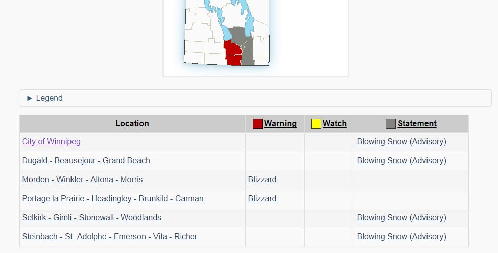 EnviroCda updates blizzard/blowing snow advisories. Province has closed highways - mbstorm