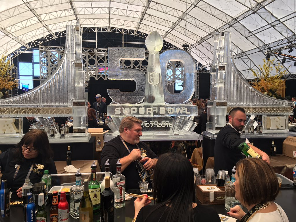 Huge ice sculpture inside NFL TAILGATE AT LEVI's stadium. Lot of work... sb50