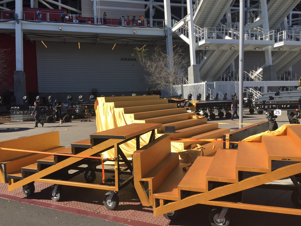 Here's a look behind the scenes of the sb50 halftime equipment. Join our online press pass