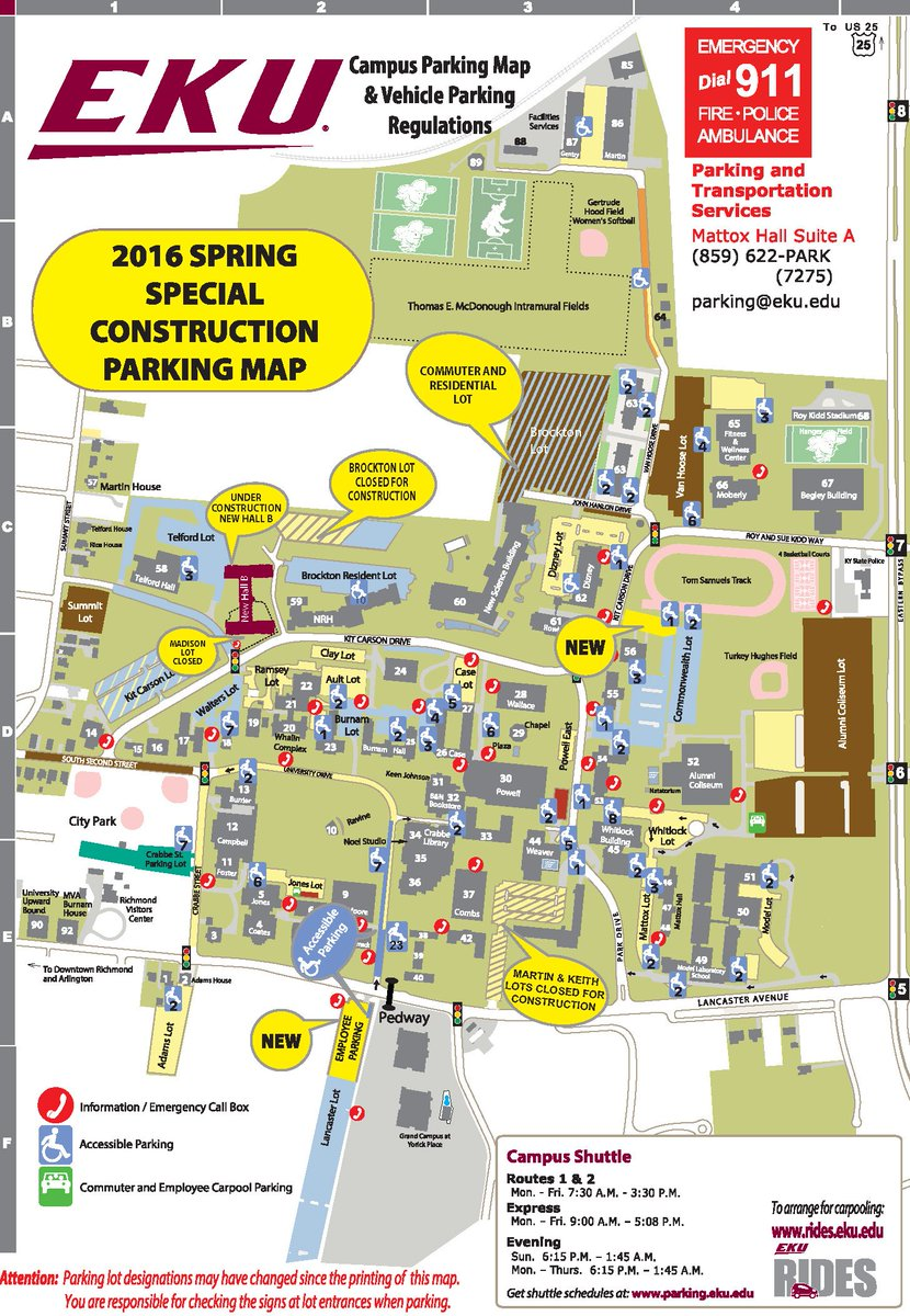 Brockton Va Campus Map.Michael Benson On Twitter Please Note Changes To Eku Parking Map