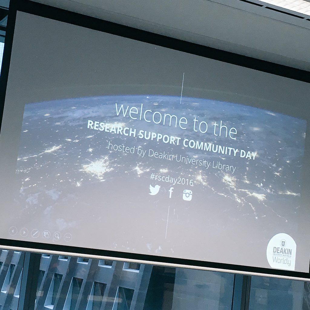 Excited to join the Research Support Community Day in Melbourne! #rscday2016 https://t.co/AEtEhPsTbd