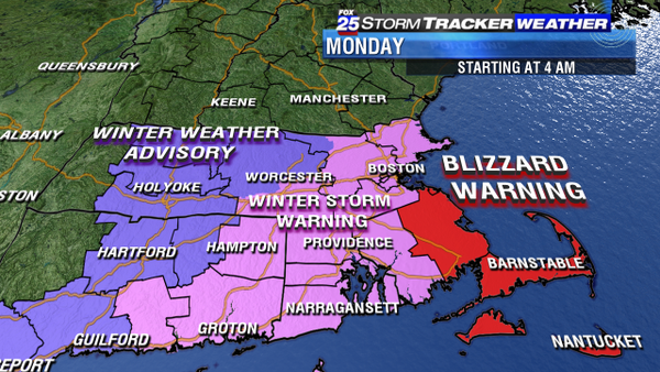Blizzard Warning issued for parts of Mass, snow coming Monday