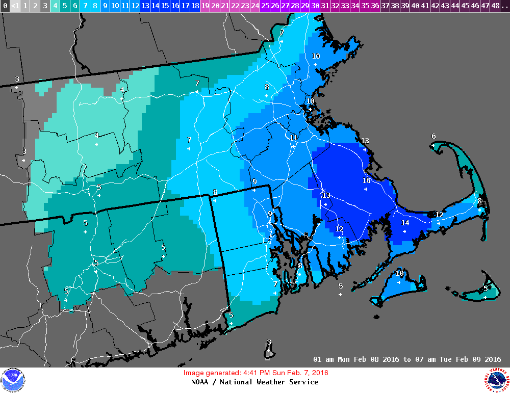 Blizzard warning in parts of Mass. goes into effect Monday at 4 a.m. and lasts until 7 p.m.
