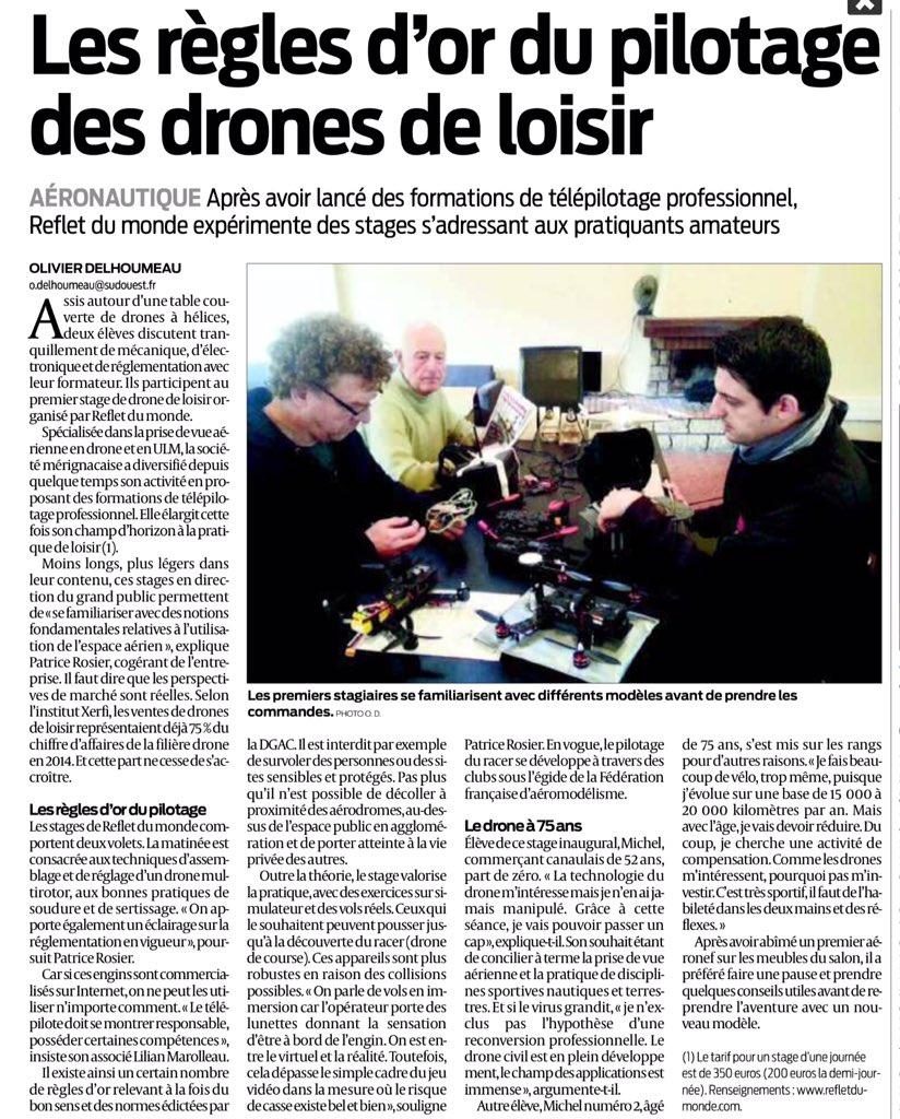 Après formations pour télépilotes @Reflet_du_Monde lance des stages #drones pour amateurs Via @sudouest #AéroparcBTW
