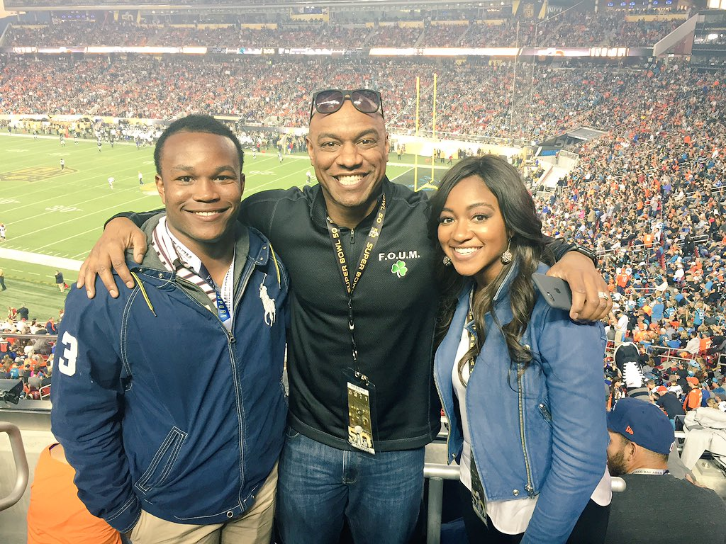 Our dads were 2 of the best to ever do it. Great to see my lil bro @BarryJSanders26. SB50