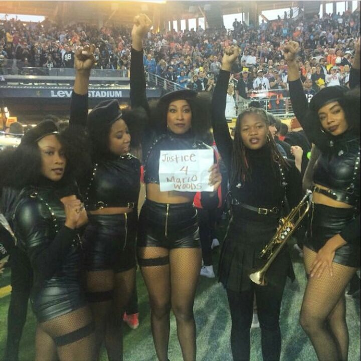 Beyonce's dancers paid tribute to #MarioWoods, black man killed by San Francisco police. #SB50 #BlackLives https://t.co/m2Pl9i5qKL