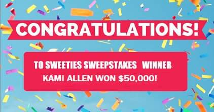 Congratulations to #SweetiesSweeper Kami Allen who won $50,000 from #esurancesweepstakes https://t.co/XO1wFICaay https://t.co/zFnDG7Q9sr