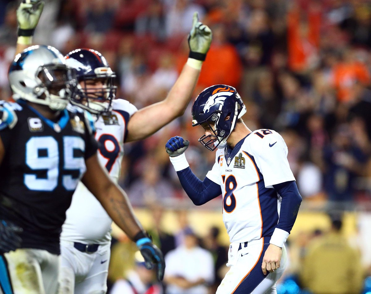 Peyton celebrates what may be the final touchdown drive of his career.